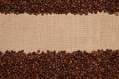 Coffee beans  on a  jute background other Coffee and tea image
