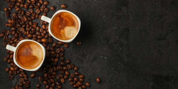 coffee freshly brewed in a white cup serving of beverage (coffee grain). food. top.copy save coffee freshly brewed in a white cup serving of beverage (coffee grain) caffeine stock pictures, royalty-free photos & images