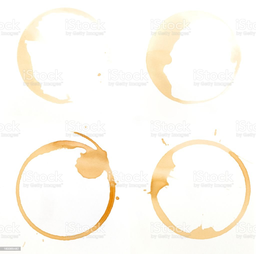 Coffee glass ring stains on a white background stock photo
