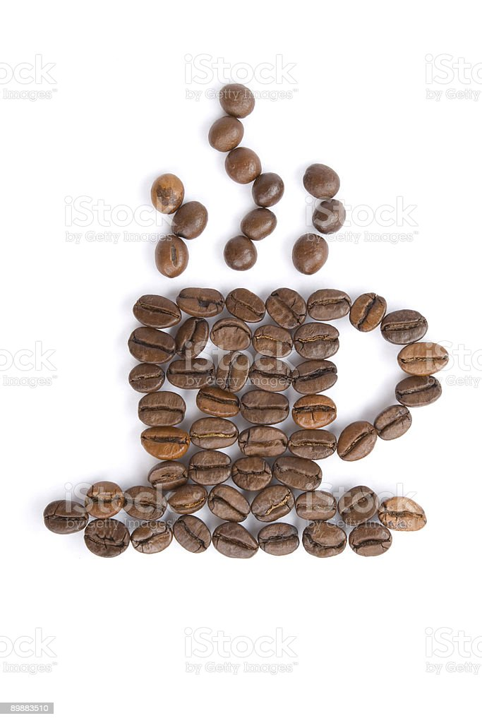 Coffee grains in the form of a cup royalty-free stock photo