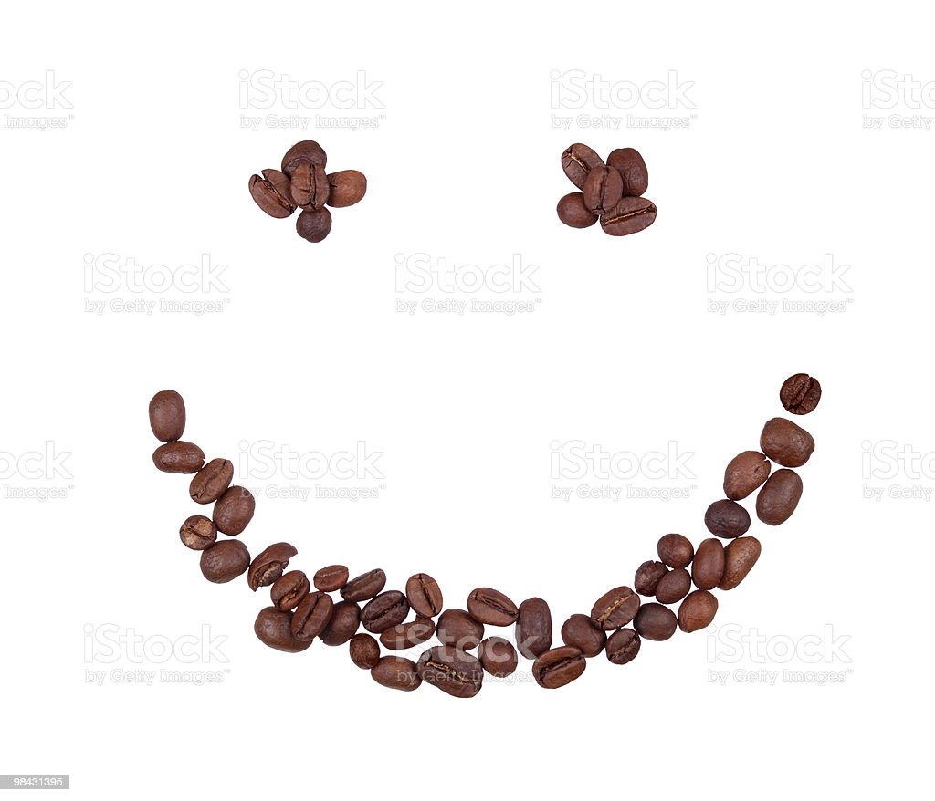 Coffee grains in the form of smiling face royalty-free stock photo