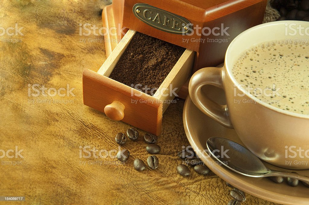 Coffee grinder in a retro style royalty-free stock photo