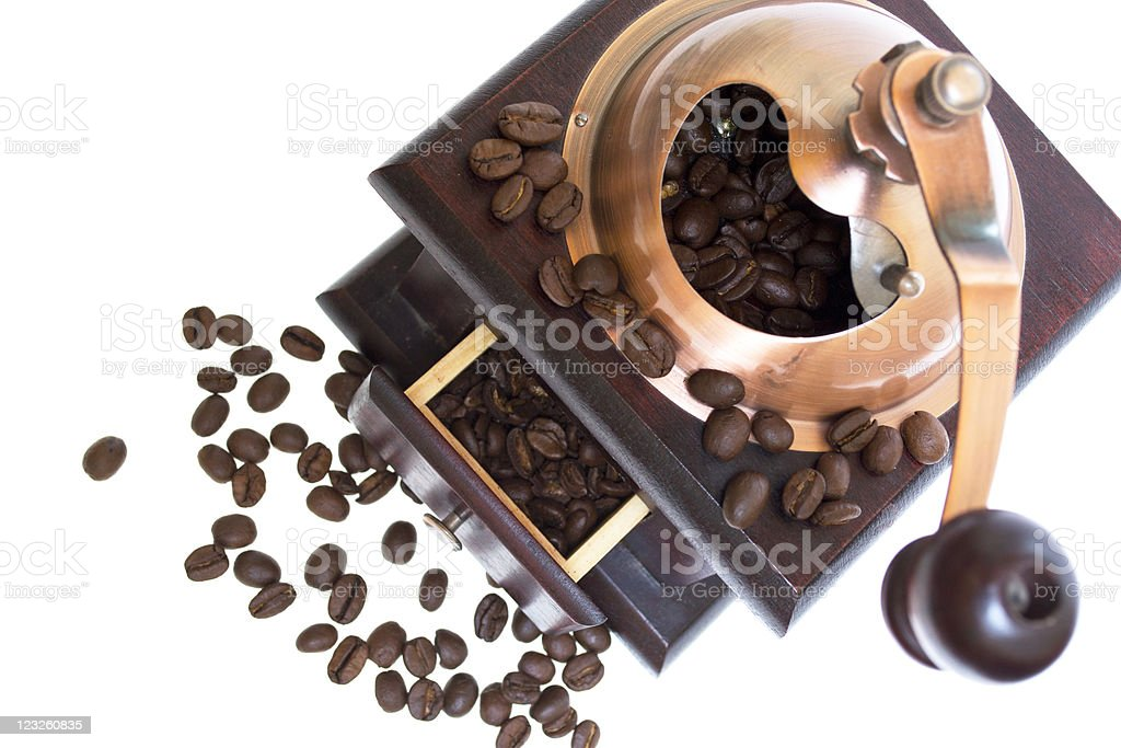 Coffee grinder with beans royalty-free stock photo