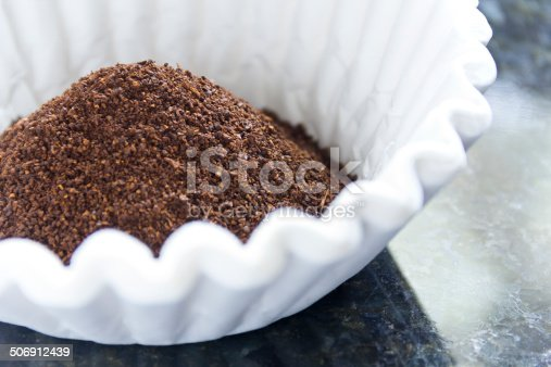 Fresh coffee grounds ready to be brewed for morning jolt of caffeine