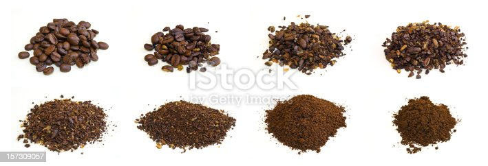 Composite photo of arabica coffee beans at various stages of grinding