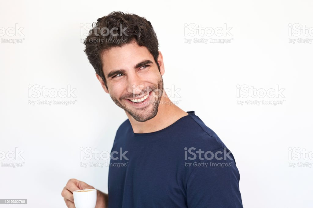 Kaffee Mann lächelnd – Foto