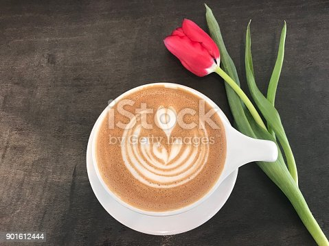 istock Coffee Heart Mug and Rose 901612444