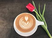 beautiful heart design in coffee