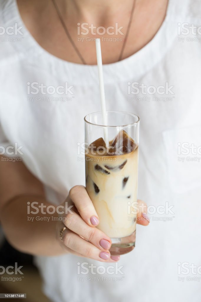 coffee ice in glass. Iced coffee cocktail or frappe with ice cubes...