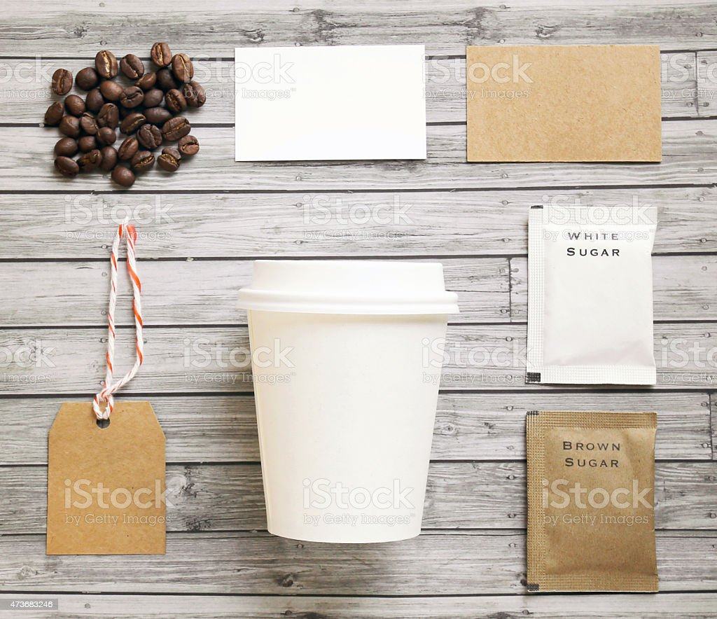 Coffee identity mockup set with retro filter effect stock photo