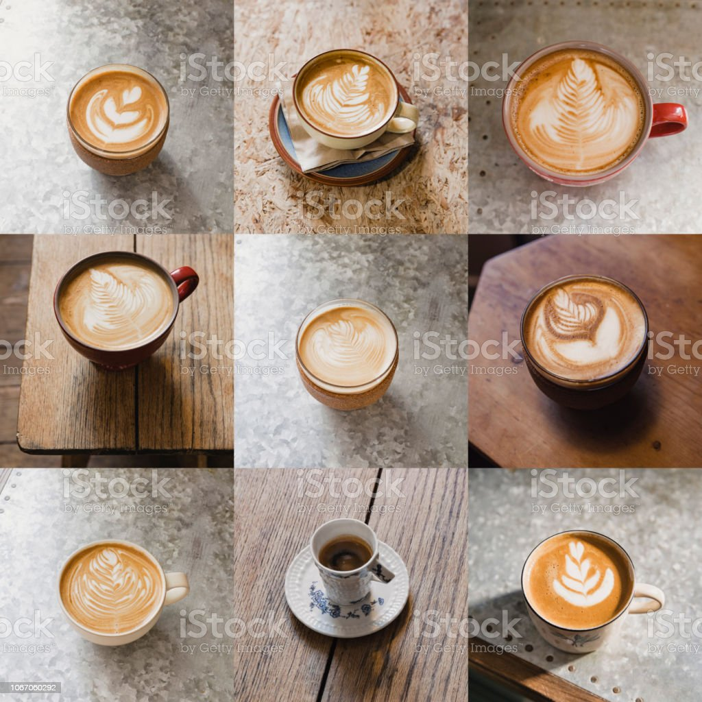 Image montage of nine cups of coffee. There are different types of...