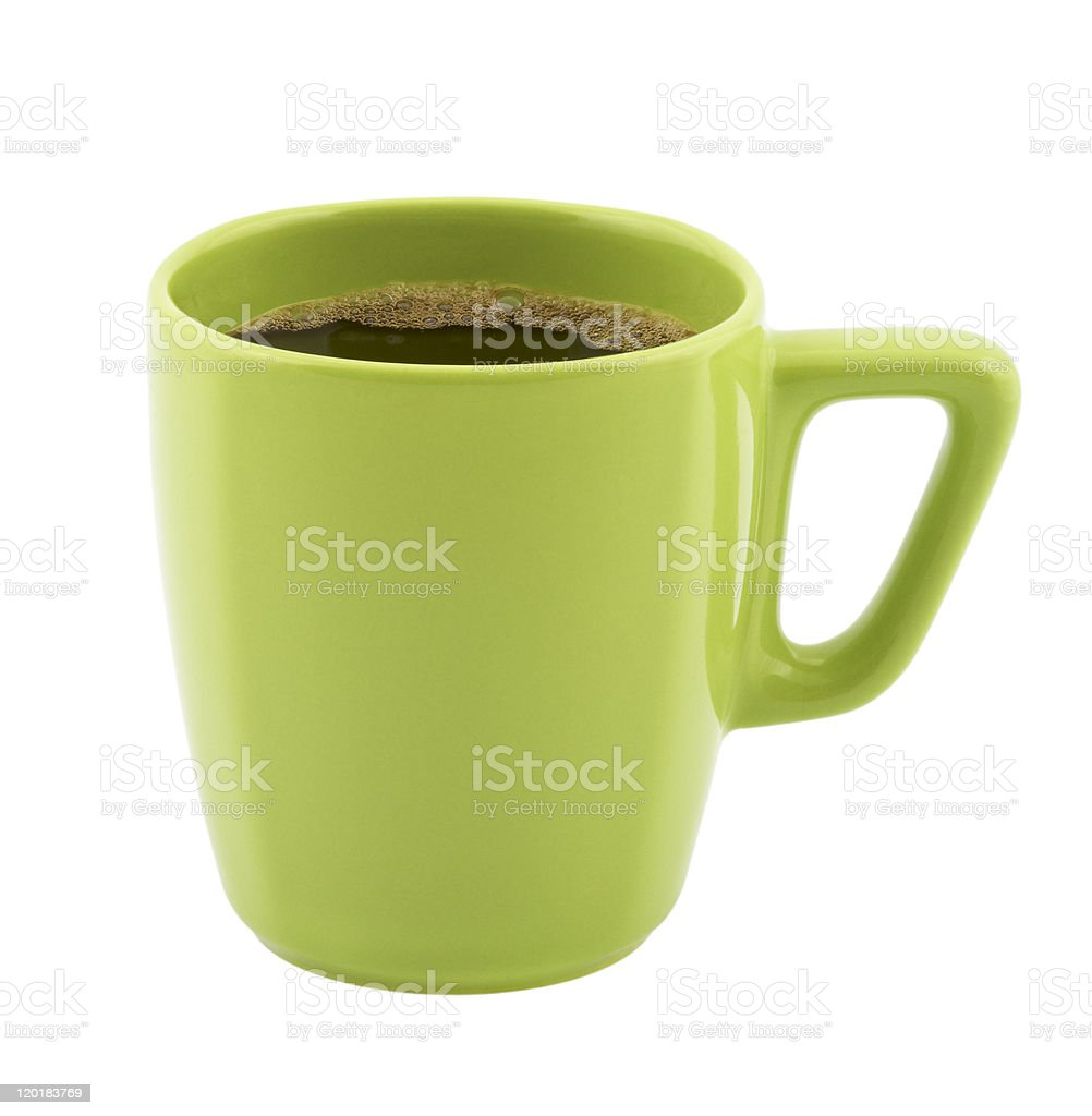 Coffee in a cup of green stock photo