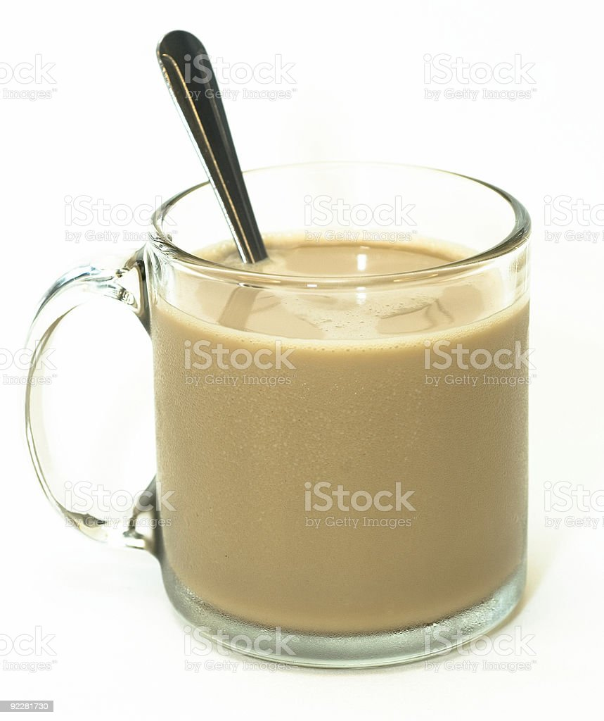 Coffee in a glass mug, with spoon royalty-free stock photo