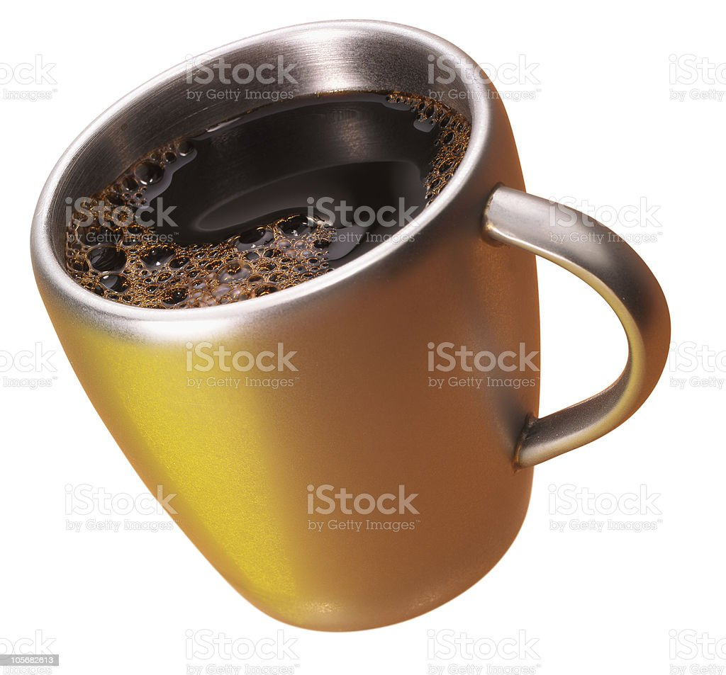 coffee in a golden cup royalty-free stock photo