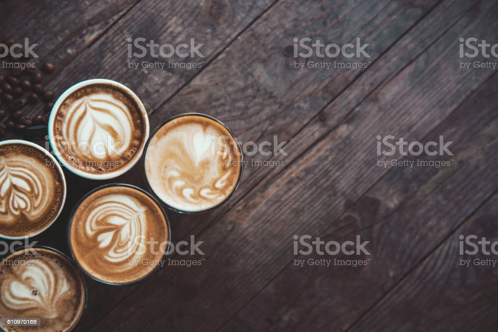 Coffee in a row stock photo