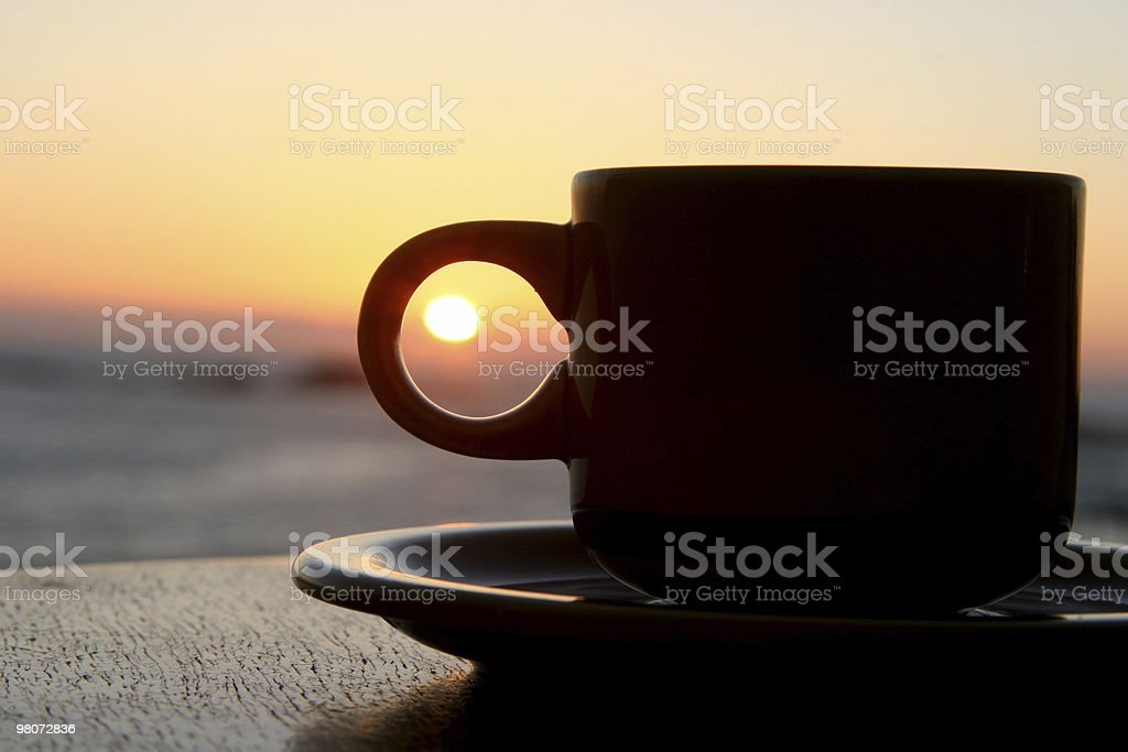 Coffee in a Sunset royalty-free stock photo