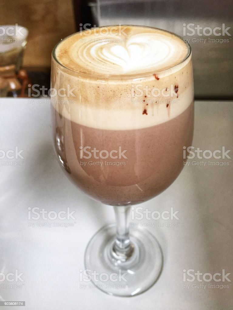Coffee in a Wine Glass stock photo