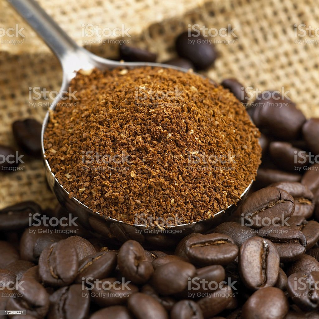Coffee in beans and ground stock photo