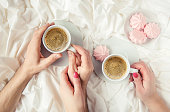istock Coffee in bed. Selective focus. Love drink. 1095221568
