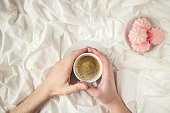 istock Coffee in bed. Selective focus. Love drink. 1095221570