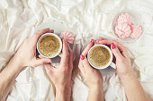 istock Coffee in bed. Selective focus. Love drink. 1095221578
