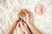 istock Coffee in bed. Selective focus. Love drink. 1095221582