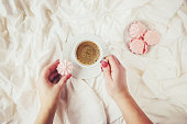 istock Coffee in bed. Selective focus. Love drink. 1095221588
