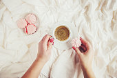 istock Coffee in bed. Selective focus. Love drink. 1097063132