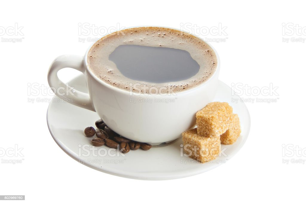 coffee in coffee cup with natural grains stock photo