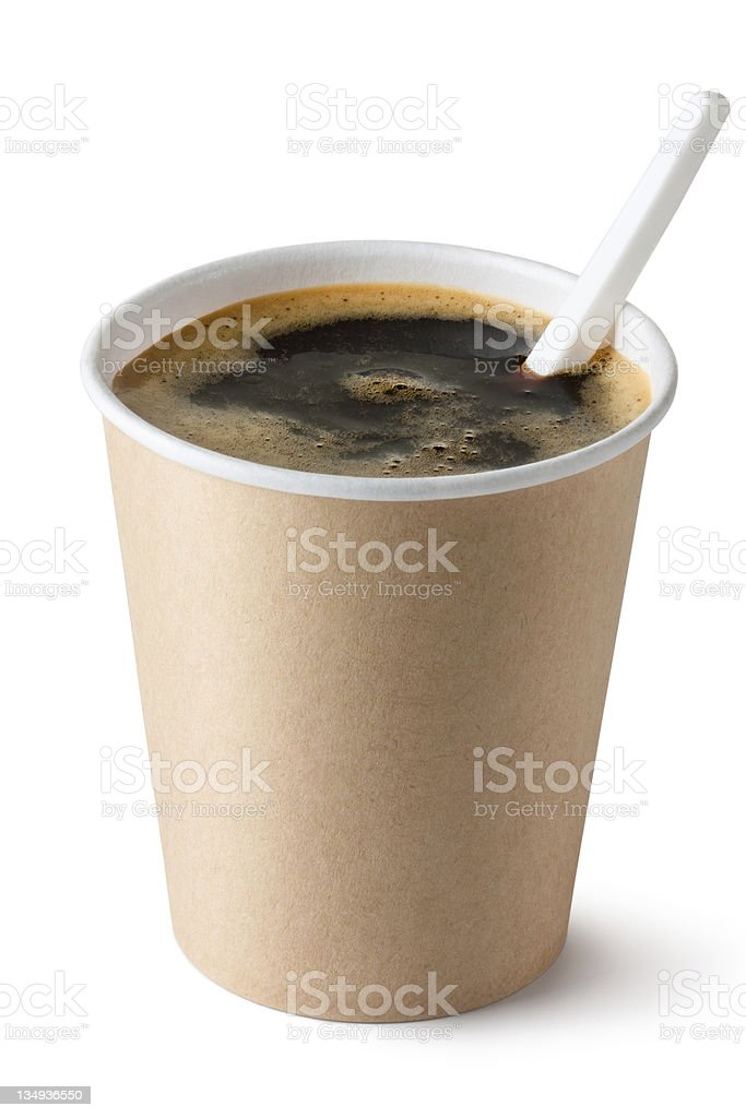 Coffee in disposable cup with plastic spoon stock photo