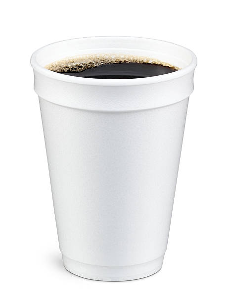 Coffee in Foam Cup White foam cup containing coffee with bubbles on top polystyrene stock pictures, royalty-free photos & images