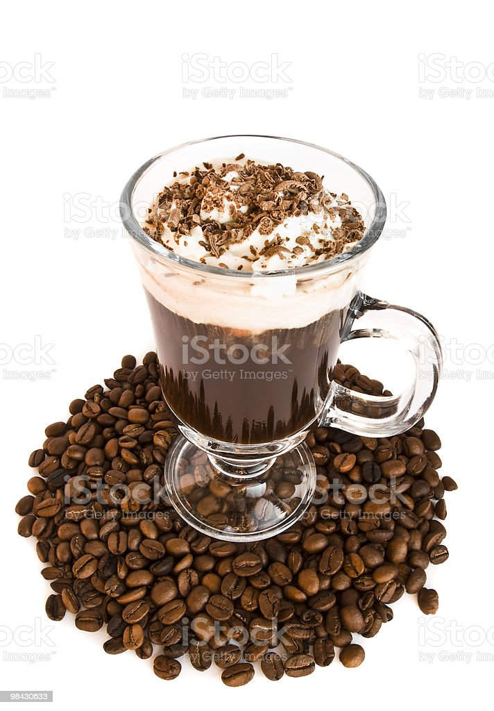 coffee in glass on a white background royalty-free stock photo