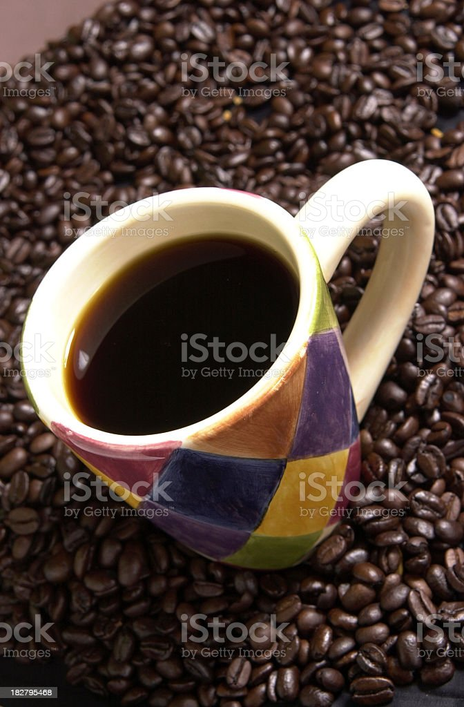 Coffee in Mug, Hand-painted, from Overhead Angle royalty-free stock photo