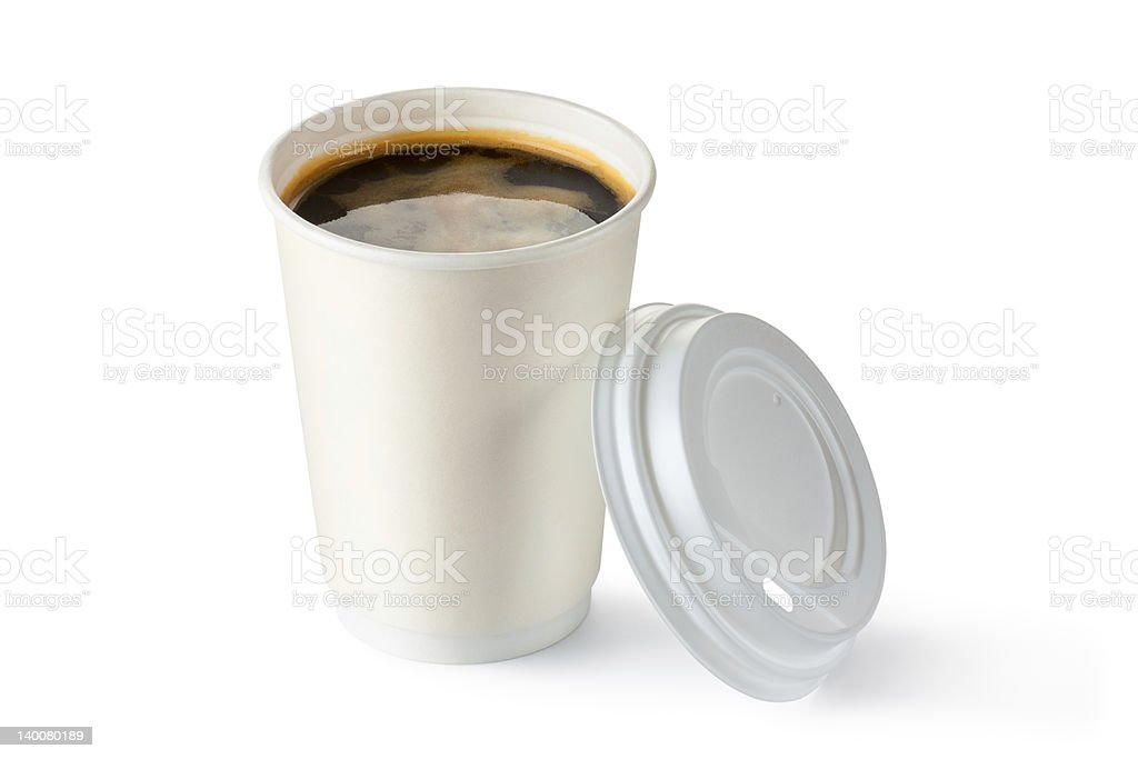 Coffee in opened disposable cup stock photo
