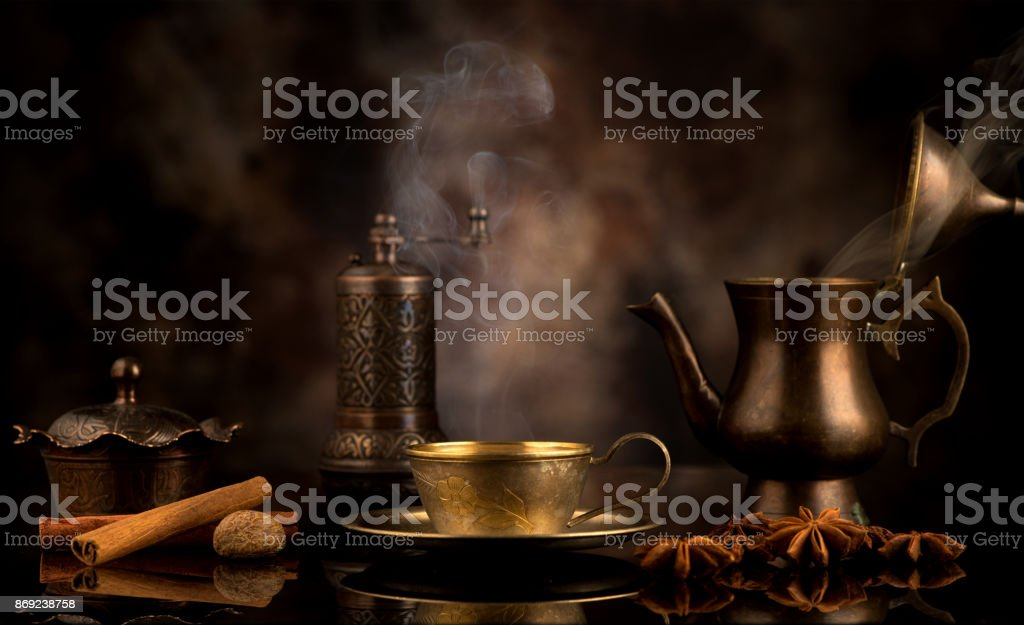 Coffee in oriental style and spices stock photo