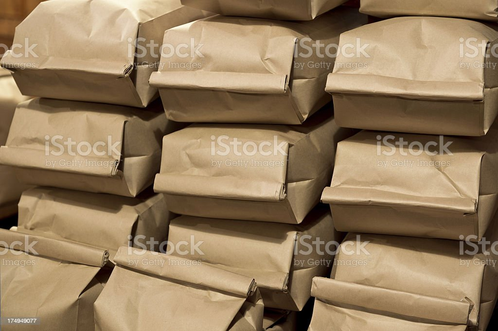 coffee in paper bags royalty-free stock photo