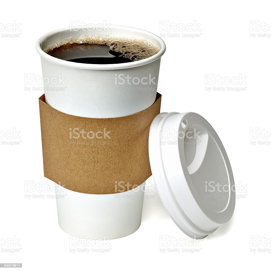 Coffee in takeaway cup stock photo