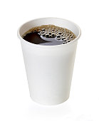 Coffee in takeaway cup isolated on white background including clipping path