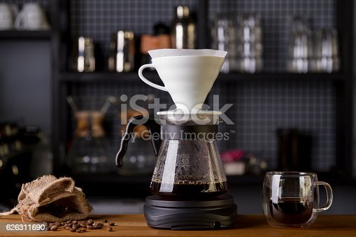 istock Coffee in the filter purover V60 626311690