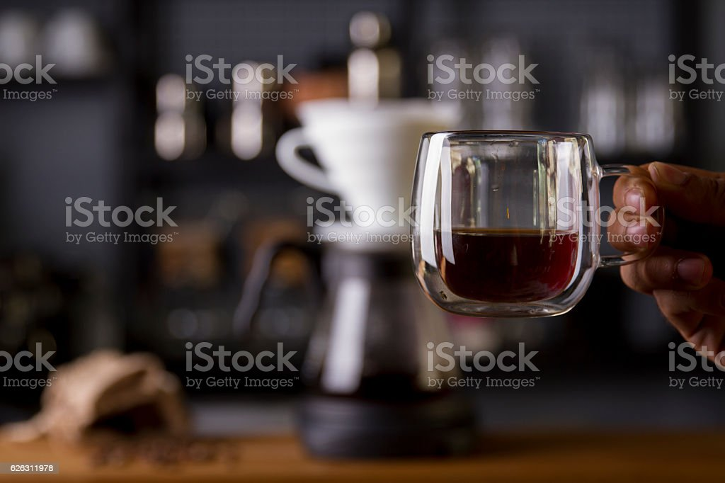 Coffee in the filter purover V60 stock photo