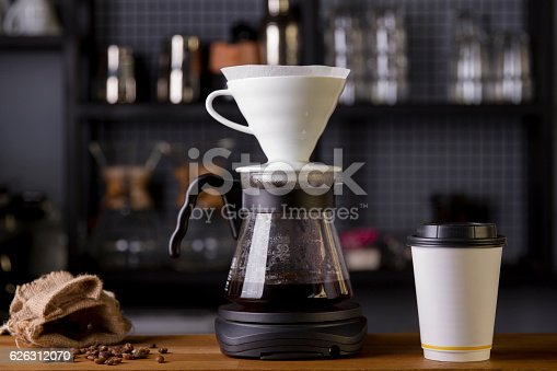 istock Coffee in the filter purover V60 626312070