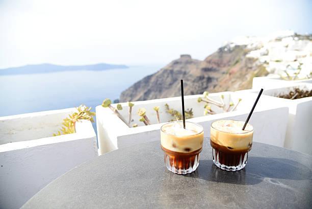 Coffee in the sun stock photo