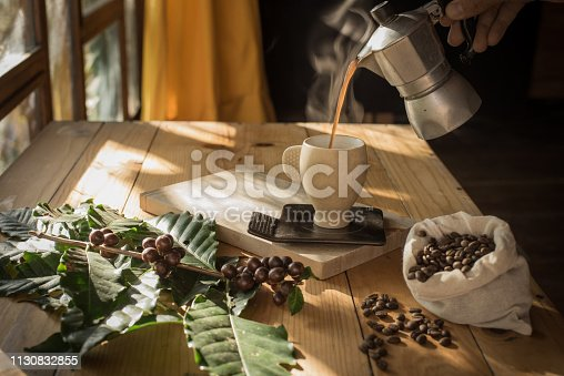 Coffee in three stages: cherry, bean and drink.