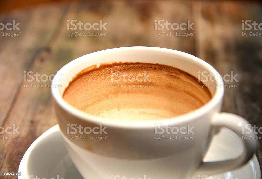 Coffee in white cup on wooden table. royalty-free stock photo