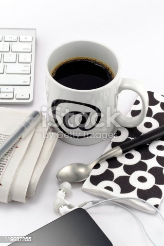 istock Coffee in white cup with at symbol 119687255