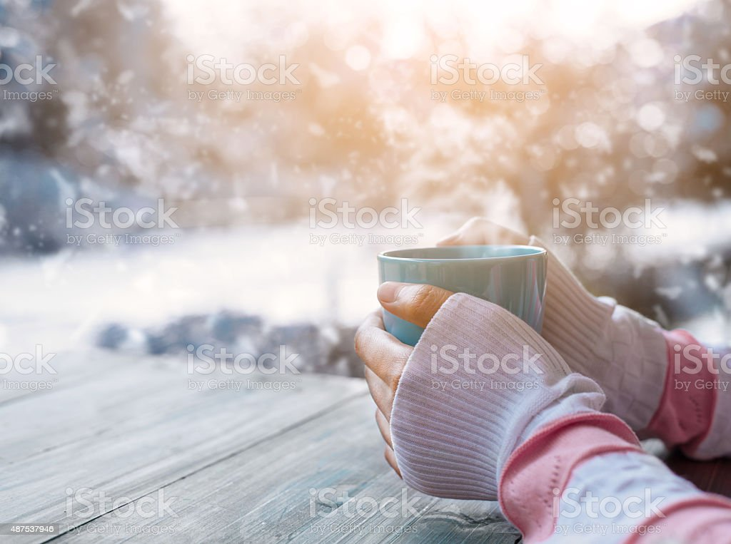 coffee in winter stock photo