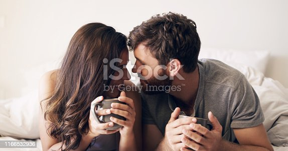 Shot of a happy young couple having coffee together in bed at home
