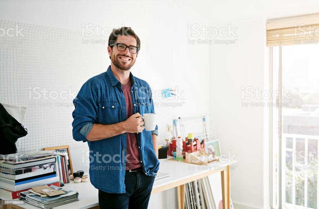 Coffee is what makes the creative juices flow stock photo