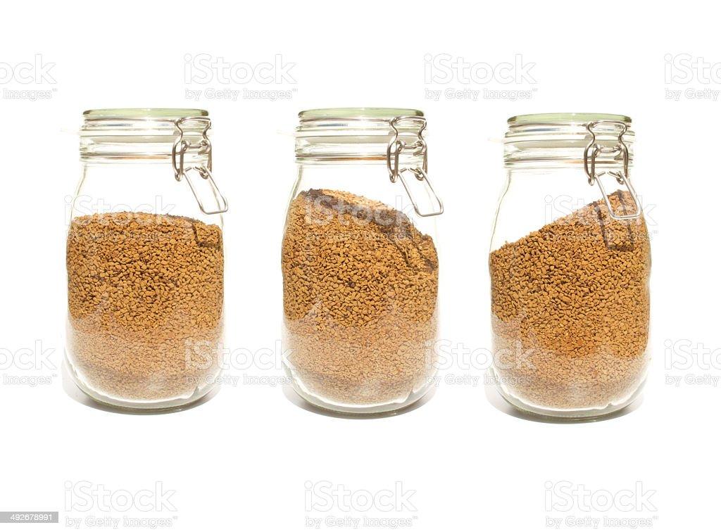 Coffee Jars Glass clip top preserve three stock photo