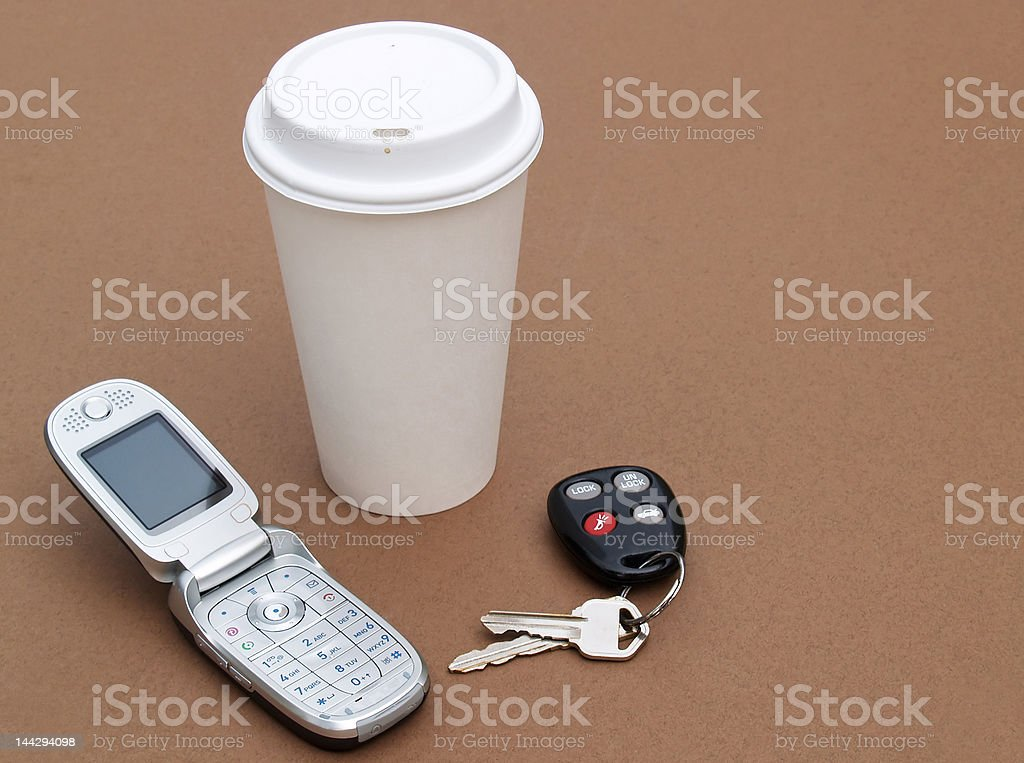 coffee, keys and cellular phone royalty-free stock photo